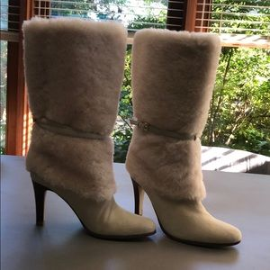 Lauren  shearling and suede cream boots 6.5